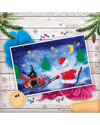 """Новогодняя картина из шерсти """"Дед Мороз с оленем"""", А4 арт. СМЛ-120528-1-СМЛ0002514571"""