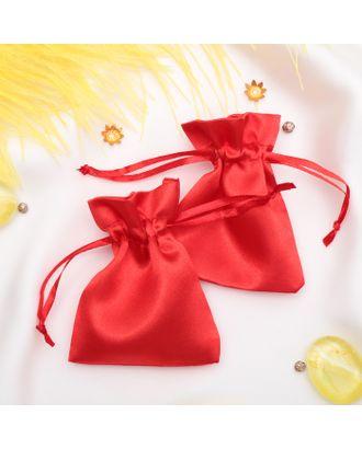 Мешочек подарочный атласный, 7*9 см, цвет красный арт. СМЛ-20798-1-СМЛ2539156