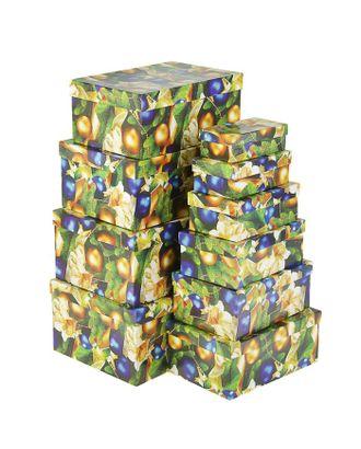 """Набор коробок 10в1 """"Золотые и синие шары"""" 30,5 х 20 х 13 - 12 х 6,5 х 4 см арт. СМЛ-120496-1-СМЛ0002618722"""