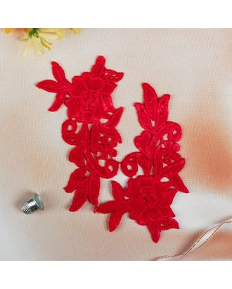Аппликации пришивные «Лейсы», 15 × 8,5 см, пара, цвет красный арт. СМЛ-5456-1-СМЛ2677638