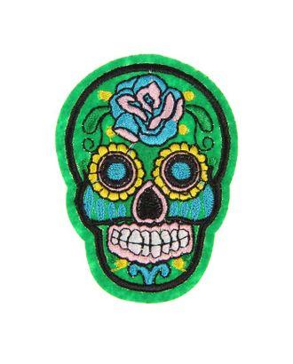 Декор на булавке «Череп зелёный с розой» для одежды, сумок, обуви арт. СМЛ-5611-1-СМЛ2725683