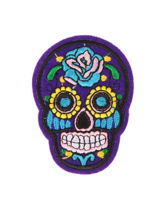Декор на булавке «Череп синий с розой» для одежды, сумок, обуви арт. СМЛ-5612-1-СМЛ2725684