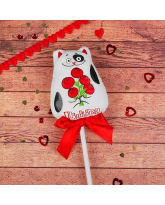 Мягкая игрушка на палочке «Поздравляю», котик арт. СМЛ-125453-1-СМЛ0002728298
