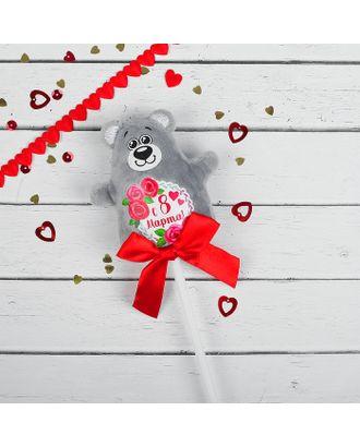 Мягкая игрушка на палочке «С 8 марта», мишка арт. СМЛ-125454-1-СМЛ0002728300