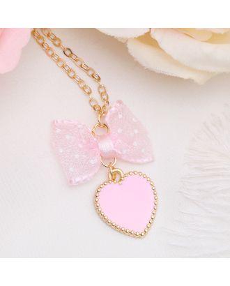 """Кулон """"Выбражулька"""" сердечко с бантом, цвет розовый в золоте арт. СМЛ-120660-1-СМЛ0002738769"""