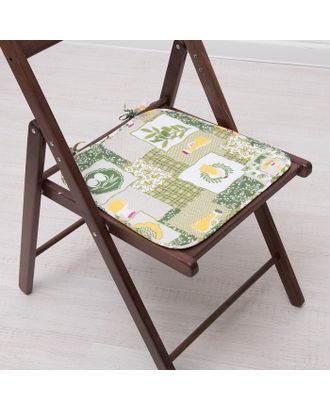 Подушка на стул с завязками «Греция», 35х38 см, бязь 125г/м, хл100% арт. СМЛ-5817-1-СМЛ2750938