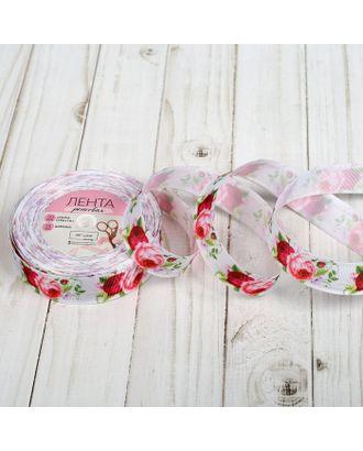 Лента репсовая «Пионы», 25 мм, 18 ± 1 м, цвет белый/розовый арт. СМЛ-25973-1-СМЛ2768403