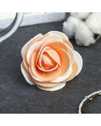 """Декор для творчества """"Бело-оранжевая роза с блестками"""" 7х7 см арт. СМЛ-120629-1-СМЛ0002778651"""