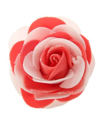 """Декор для творчества """"Бело-красная роза с блестками"""" 7х7 см арт. СМЛ-120630-1-СМЛ0002778652"""