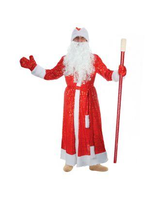 """Карнавальный костюм Деда Мороза """"Золотые снежинки"""", шуба, пояс, шапка, варежки, борода, р-р 56-58, рост 176-182 см, мех МИКС арт. СМЛ-96186-2-СМЛ0002814463"""