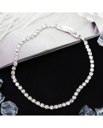 """Браслет со стразами """"Лёд"""" элегантность, 1 ряд, цвет белый в серебре арт. СМЛ-20633-1-СМЛ2821057"""