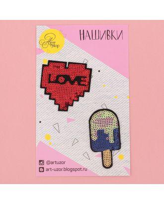 Нашивки с пайетками #LOVE, 11х18 см арт. СМЛ-6330-1-СМЛ2841079