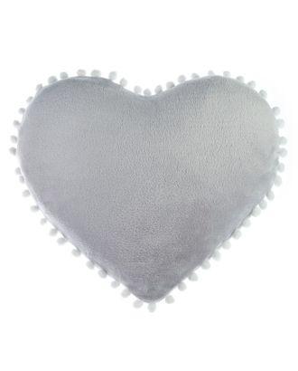 Подушка Этель «Сердце» с бомбошками, цвет светло-серый, п/э 100 %, велсофт арт. СМЛ-119808-1-СМЛ0002853322