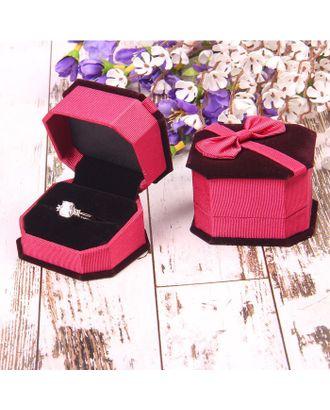 """Футляр под кольцо """"Подарок"""" 6,5*6*4,5, цвет розовый, вставка черная арт. СМЛ-6426-1-СМЛ0285576"""