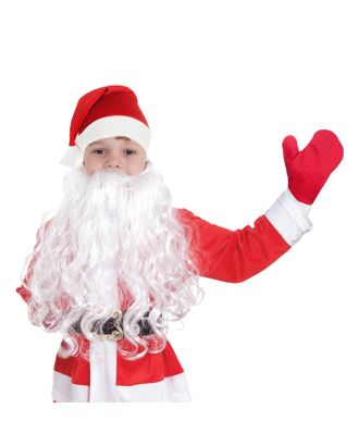 """Набор детский""""Новогодний""""колпак красный,варежки, борода,плюш,р-р 53-56 арт. СМЛ-113987-1-СМЛ0002933395"""