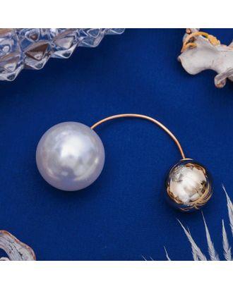 """Булавка """"Диорис"""", цвет белый в серебре арт. СМЛ-21115-2-СМЛ2956951"""