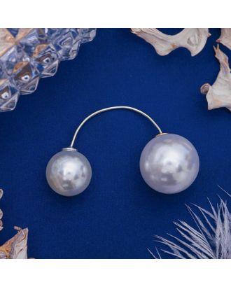 """Булавка """"Диорис"""", цвет белый в серебре арт. СМЛ-21115-1-СМЛ2956953"""