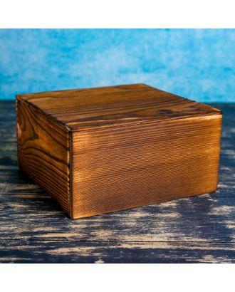 Ящик деревянный 19×19×10 см подарочный с разделителем и крышкой, брашированный арт. СМЛ-120586-1-СМЛ0002966509