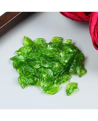 """Декор для творчества пластик """"Зелёный листик"""" набор  80 шт 1,4х0,8 см арт. СМЛ-34596-1-СМЛ0002985564"""