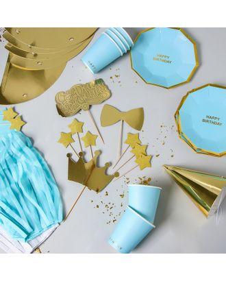 Набор для украшения праздника «Стильный», тарелки, стаканы, колпачки, топперы, шпажки, гирлянда арт. СМЛ-57448-1-СМЛ0003028569