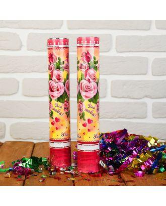 Пневмохлопушка «Для тебя!», лепестки роз, розовые, 30 см арт. СМЛ-48791-1-СМЛ0000324631