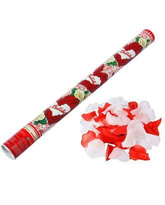 Пневмохлопушка «Любовь», лепестки роз, красные и белые, 60 см арт. СМЛ-48792-1-СМЛ0000324632