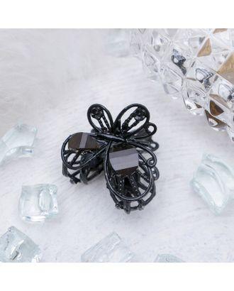"""Краб для волос """"Чёрный ажур"""" 2,9 см две бабочки на цветке арт. СМЛ-22631-5-СМЛ3254404"""
