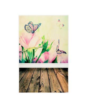 """Фотофон винил """"Бабочки и розы"""" стена+пол 80х125 см арт. СМЛ-114106-1-СМЛ0003259326"""