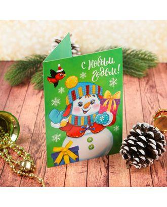 """Новогодняя фреска на открытке """"С Новым годом!"""", снеговик, набор: песок 9 цветов 2гр, стека арт. СМЛ-8576-1-СМЛ3264017"""