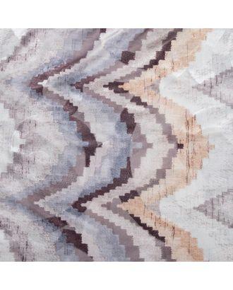 """Штора тюлевая сетка с бархатом """"Этель"""" Памир 170х250 см, коричневый,100% п/э арт. СМЛ-20963-2-СМЛ0003277318"""
