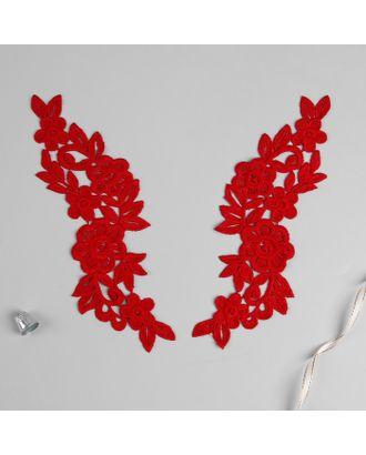 Аппликации пришивные «Лейсы», 24 × 7 см, цвет красный арт. СМЛ-8745-1-СМЛ3289612