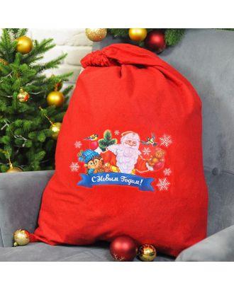 Мешок Деда Мороза «С Новым годом!», ёжик, 60 х 90 см арт. СМЛ-120805-1-СМЛ0003292116