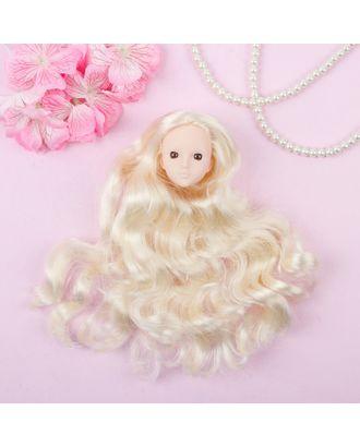 """Голова для изготовления куклы, волосы """"Кудри"""" блондинка, цвет глаз карий арт. СМЛ-8831-1-СМЛ3296535"""