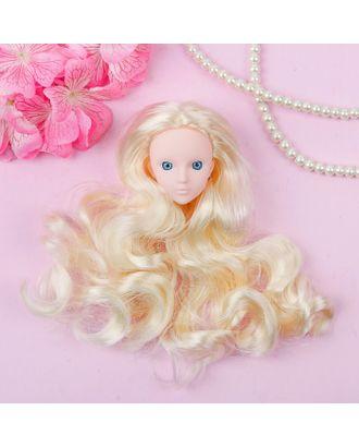 """Голова для изготовления куклы, волосы """"Кудри"""" блондинка, цвет глаз голубой арт. СМЛ-8834-1-СМЛ3296538"""