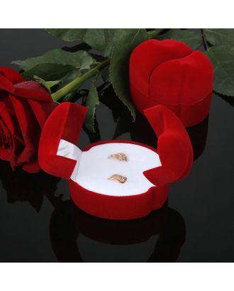"""Футляр под кольца и серьги """"Два сердца"""", 5,5*4,5*4,2, цвет красный арт. СМЛ-8942-1-СМЛ0033034"""