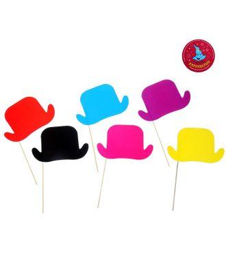 Аксессуары для фотосессии «Шляпка», на палочке, набор 6 шт., цвета МИКС арт. СМЛ-103226-1-СМЛ0000330666