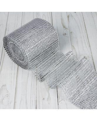 Лента из страз, 4 см, 9±1 м, цвет серебряный арт. СМЛ-23424-1-СМЛ3312652
