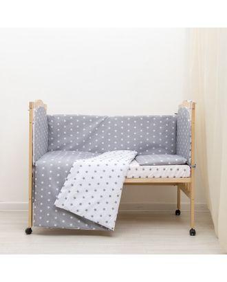 """Борт в кроватку """"Мечта"""", из 4-х частей, чехлы съемные, цвет серый, бязь хл100% арт. СМЛ-21882-1-СМЛ3332925"""