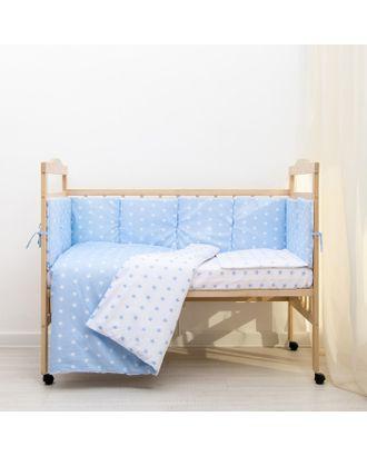 """Борт в кроватку """"Подушечки"""", из 4-х частей, чехлы съемные, цвет голубой, бязь хл100% арт. СМЛ-30698-1-СМЛ3332935"""