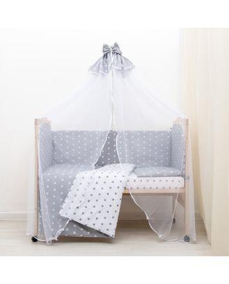 """Комплект в кроватку 7 пр. """"Мечта"""" (борт из 4-х частей), цвет серый, бязь хл100% арт. СМЛ-33609-1-СМЛ3332985"""