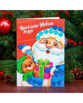 """Новогодняя аппликация пуговками на открытке """"Веселого Нового года"""" арт. СМЛ-9366-1-СМЛ3346670"""