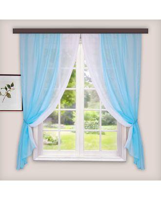 Комплект штор для кухни Лидия 250х160 см, голубой, пэ 100% арт. СМЛ-22009-1-СМЛ3353883