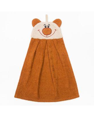 """Полотенце-рушник махровый """"Медведь"""", 43×35 см, коричневый, хл100%, 300 г/м² арт. СМЛ-21849-1-СМЛ3367780"""