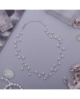 """Колье с жемчугом """"Цветущая дорожка"""" бусины, цвет белый в серебре арт. СМЛ-28941-1-СМЛ3369015"""