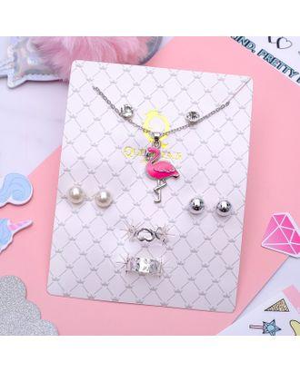 """Гарнитур 6 предметов: 3 пары пуссет, кулон, 2 кольца """"Фламинго"""", цвет розовый в серебре, 45 см арт. СМЛ-9888-1-СМЛ3385797"""