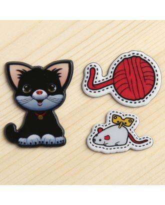 """Декор пластик """"Котёнок с игрушками"""" набор 3 шт 3,5х3 см арт. СМЛ-10004-1-СМЛ3400118"""