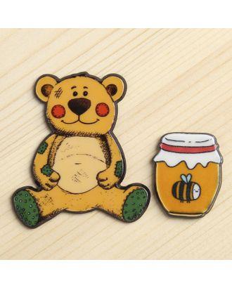 """Декор пластик """"Медведь сластёна"""" набор 2 шт 4,6х4 см арт. СМЛ-10006-1-СМЛ3400122"""