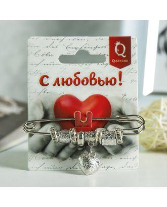 """Булавка """"Любовь"""" 7,5см, цвет белый в серебре арт. СМЛ-10070-1-СМЛ3405894"""