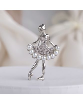 """Брошь """"Балеринка"""", цвет бело-сапфировый в серебре арт. СМЛ-21803-2-СМЛ3408969"""