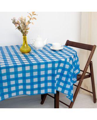 Скатерть для дачи Хозяюшка Клетка, цвет синий 160×160 см арт. СМЛ-10140-1-СМЛ3419567